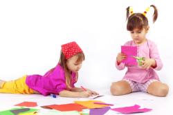 two kids doing art craft